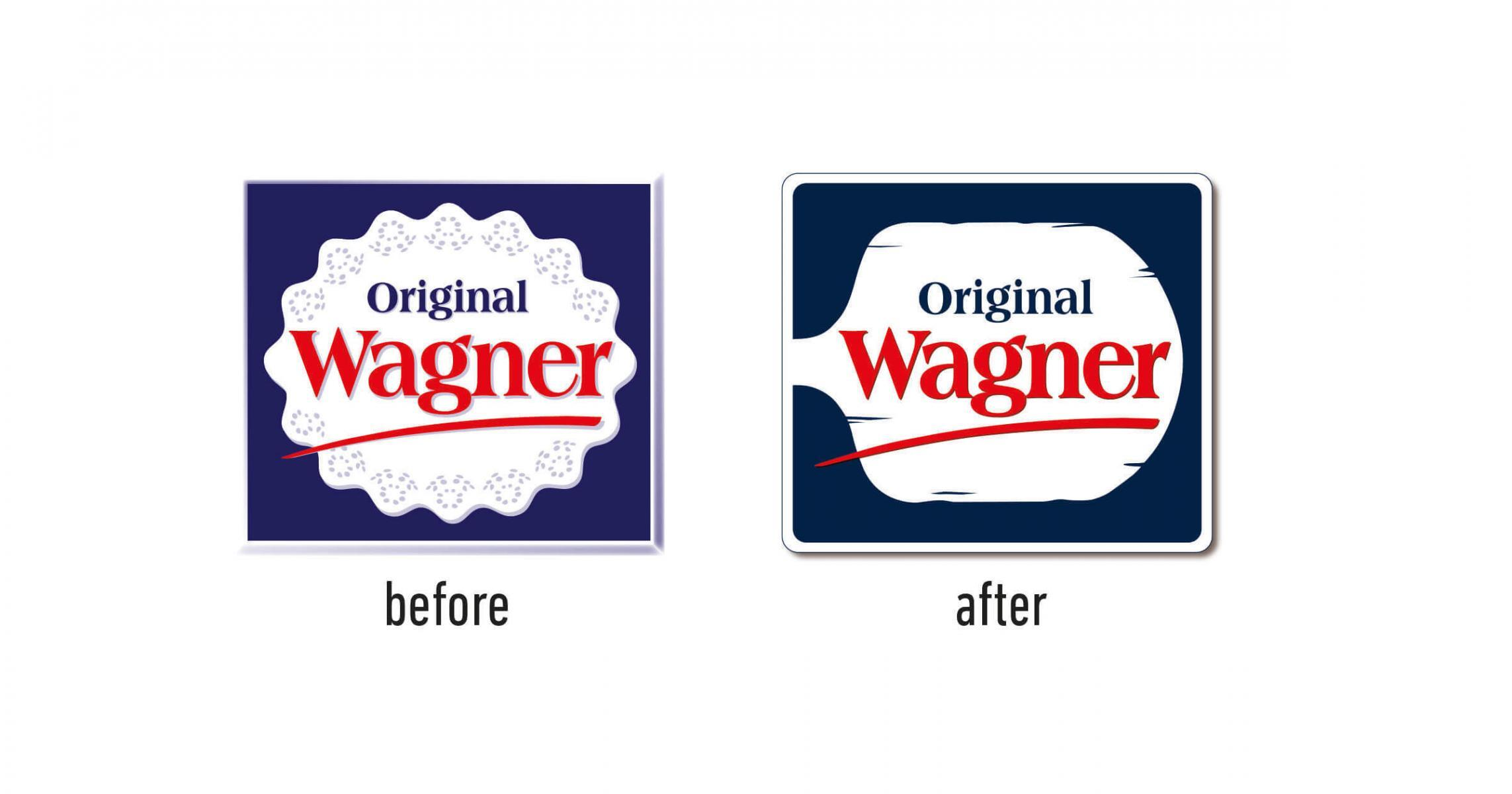 Pizza Wagner Redesign neu Design und Packaging Agentur Steinofen Tiefkühlpizza Salami Logo alt neu old new before after
